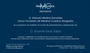 Invitación presentación Vicente Tovar