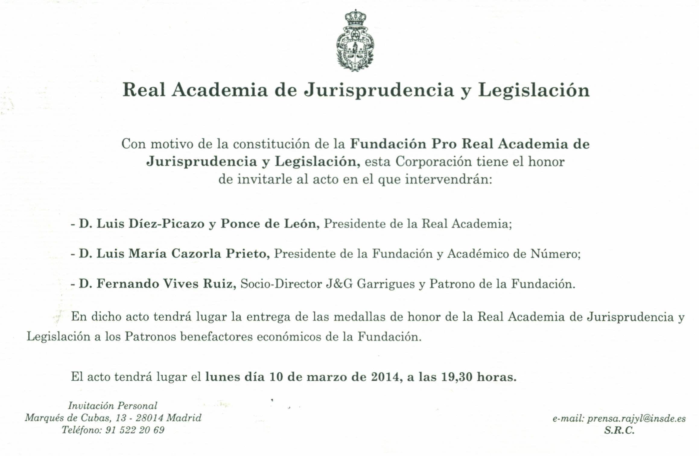 Real academia de Jurisprudencia y Legislación, invitación.