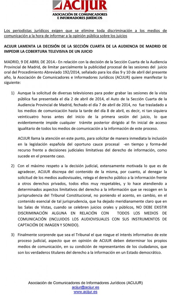 ACIJUR lamenta decisión de la Sección Cuarta de la Audiencia de Madrid