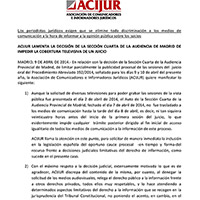 ACIJUR lamenta decisión de la Sección Cuarta de la Audiancia de Madrid