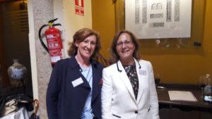 Patricia Rosety, presidenta de ACIJUR, junto a Elsa González, presidenta de FAPE.