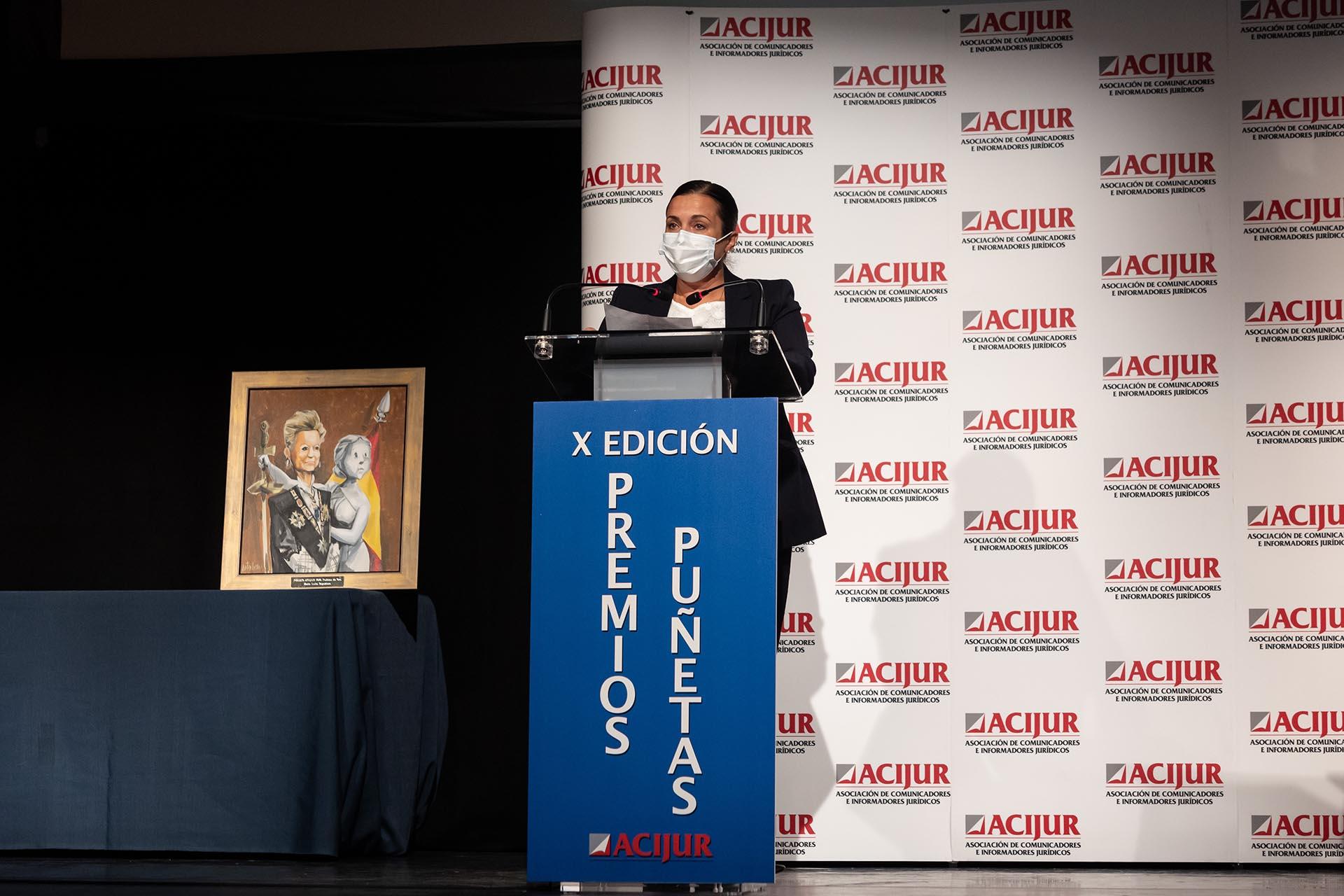 Eva González, premio Puñetas de Plata, durante su intervención al recoger el premio.
